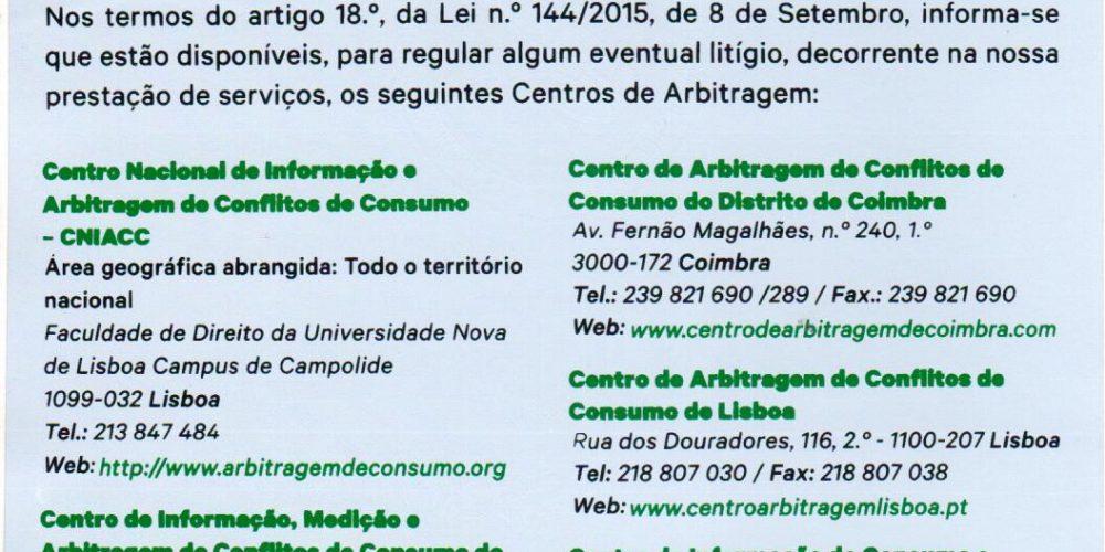Listagem de Centros de Arbitragem afixado nas viaturas (Revogação da Obrigação)